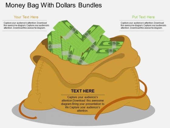 Money Bag With Dollars Bundles Powerpoint Template