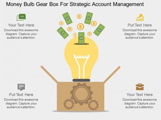 Money Bulb Gear Box For Strategic Account Management Powerpoint Template
