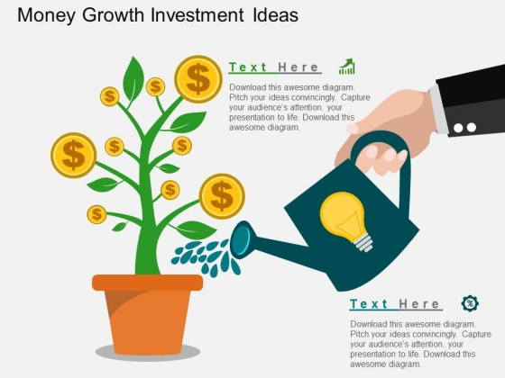 Money Growth Investment Ideas PowerPoint Template
