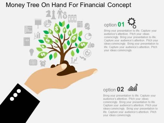 Money Tree On Hand For Financial Concept Powerpoint Template