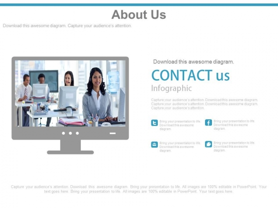 Monitor With Contact Us Details Powerpoint Slides