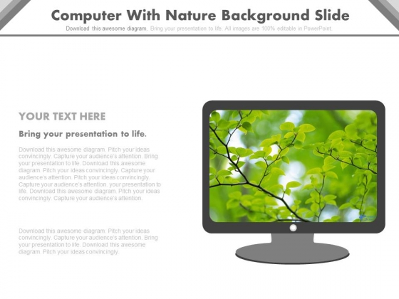 Monitor With Nature Backdrop Powerpoint Slides