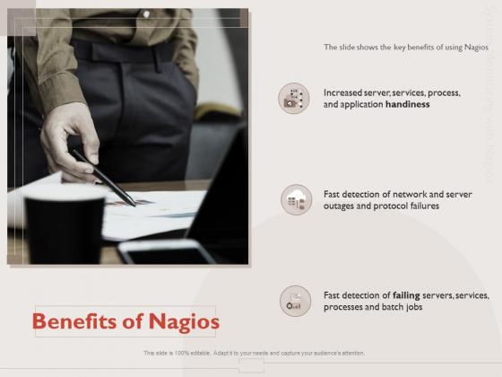 Monitoring Computer Software Application Benefits Of Nagios Ppt PowerPoint Presentation Model Layout Ideas PDF