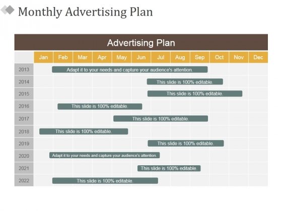 Monthly Advertising Plan Ppt PowerPoint Presentation Outline Smartart