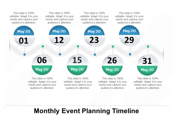 Monthly Event Planning Timeline Ppt PowerPoint Presentation Icon Outline PDF