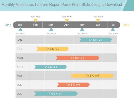 Monthly Milestones Timeline Report Powerpoint Slide Designs Download