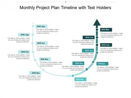 Monthly Project Plan Timeline With Text Holders Ppt Powerpoint Presentation Gallery Tips