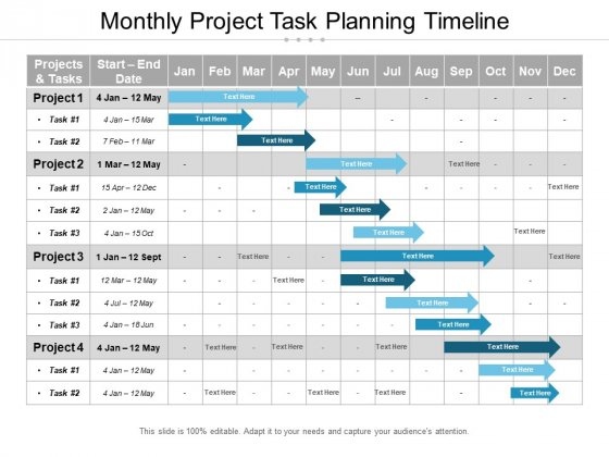 Monthly Project Task Planning Timeline Ppt PowerPoint Presentation Summary Deck