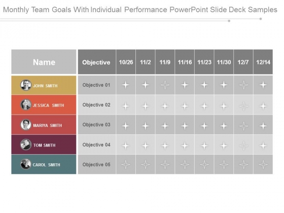 Monthly Team Goals With Individual Performance Powerpoint Slide Deck Samples