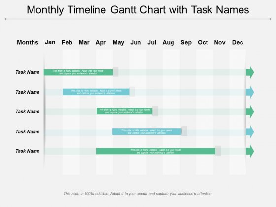 Monthly Timeline Gantt Chart With Task Names Ppt PowerPoint Presentation File Ideas