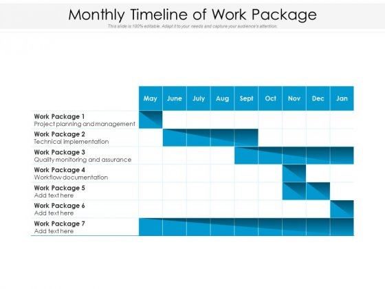 Monthly Timeline Of Work Package Ppt PowerPoint Presentation File Slides PDF