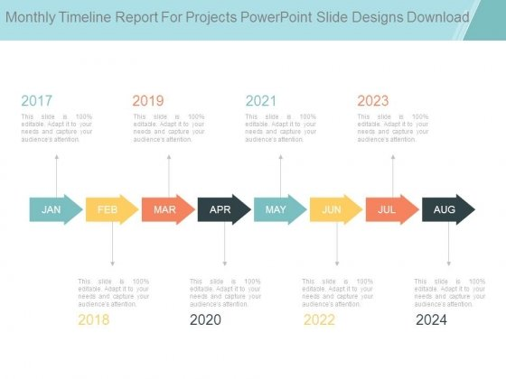 Monthly Timeline Report For Projects Powerpoint Slide Designs Download