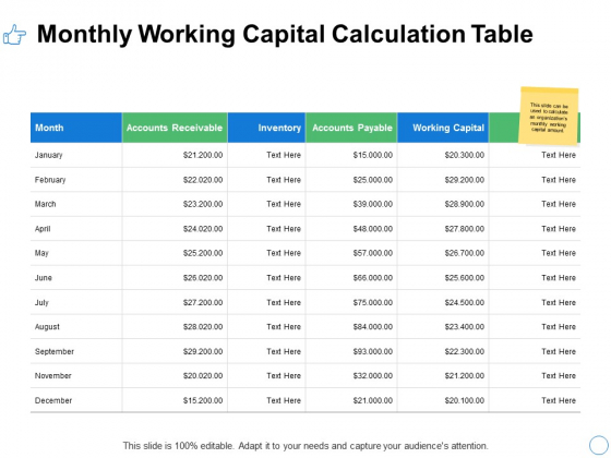 Monthly Working Capital Calculation Table Ppt PowerPoint Presentation Model Graphics Pictures