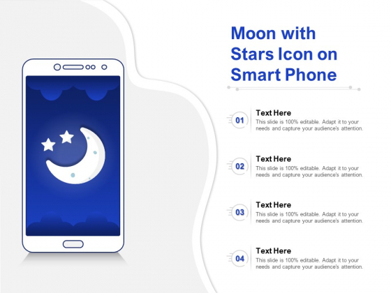Moon With Stars Icon On Smart Phone Ppt PowerPoint Presentation Model Clipart Images