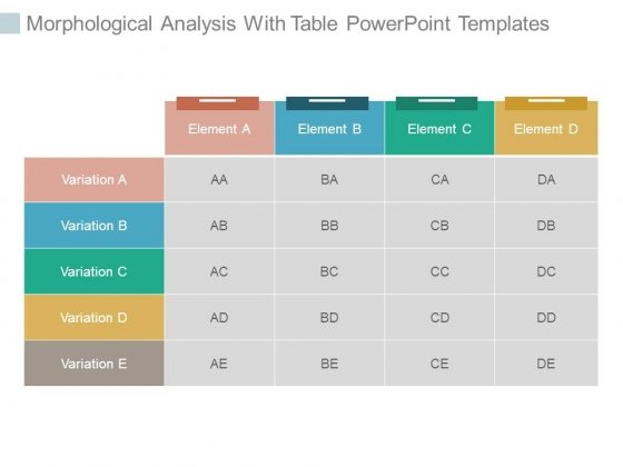 Morphological Analysis With Table Powerpoint Templates