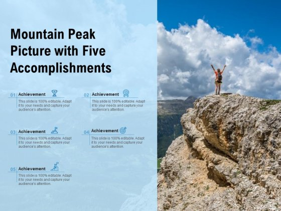 Mountain Peak Picture With Five Accomplishments Ppt PowerPoint Presentation Styles Example File