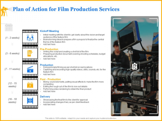 Movie Production Proposal Template Plan Of Action For Film Production Services Information PDF