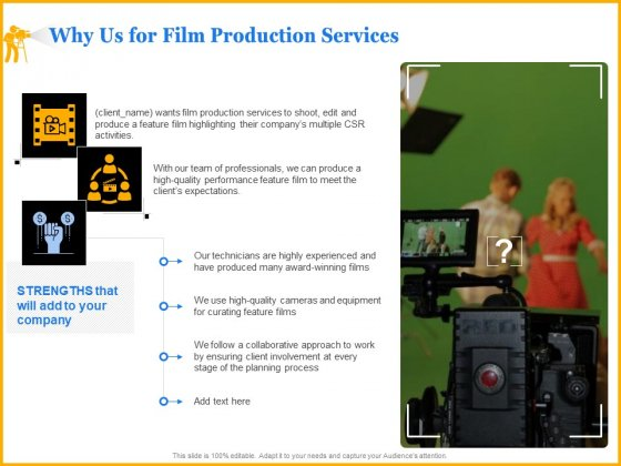Movie Production Proposal Template Why Us For Film Production Services Icons PDF