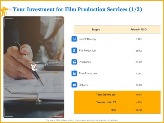Movie Production Proposal Template Your Investment For Film Production Services Delivery Themes PDF