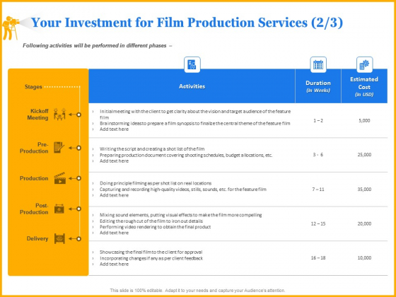 Movie_Production_Proposal_Template_Your_Investment_For_Film_Production_Services_Meeting_Information_PDF_Slide_1