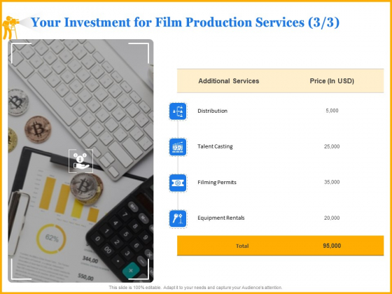 Movie Production Proposal Template Your Investment For Film Production Services Rentals Information PDF