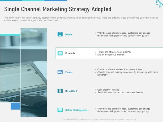 Multi Channel Marketing To Maximize Brand Exposure Single Channel Marketing Strategy Adopted Mockup PDF