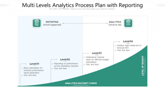 Multi Levels Analytics Process Plan With Reporting Ppt PowerPoint Presentation Gallery Icons PDF
