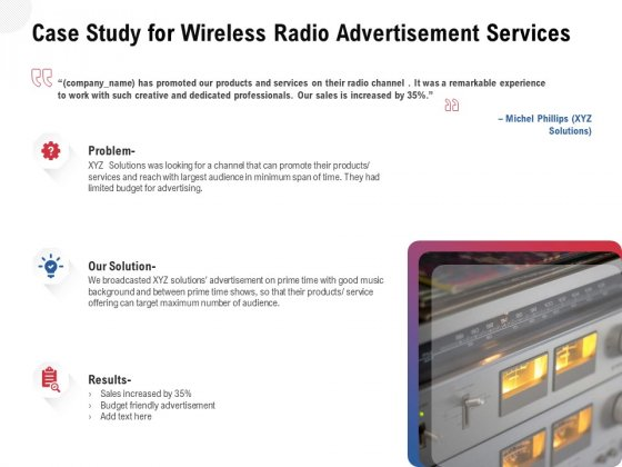 Multi Radio Waves Case Study For Wireless Radio Advertisement Services Ideas PDF