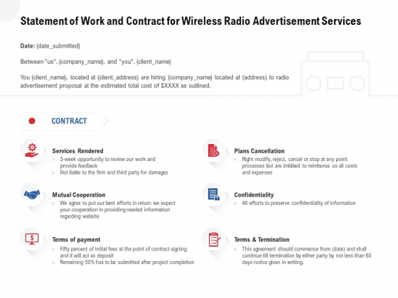 Multi Radio Waves Statement Of Work And Contract For Wireless Radio Advertisement Services Background PDF