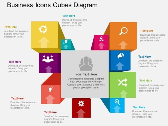 Multi Staged Business Icons Cubes Diagram Powerpoint Template