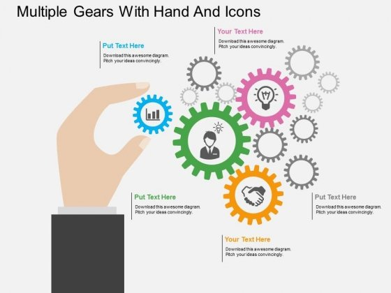 Multiple Gears With Hand And Icons Powerpoint Template