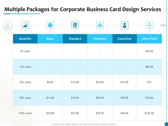 Multiple Packages For Corporate Business Card Design Services Graphics PDF