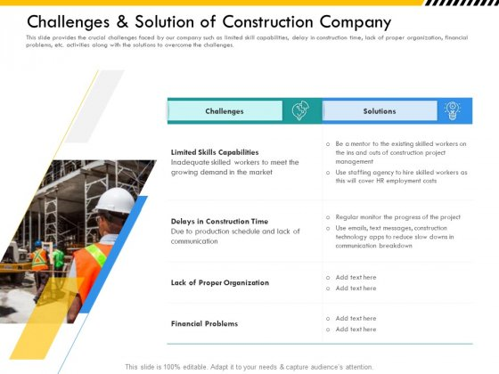 Multitier Project Execution Strategies Challenges And Solution Of Construction Company Icons PDF