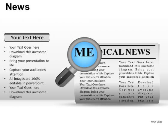 Magnified News PowerPoint Slides And Ppt Diagram Templates