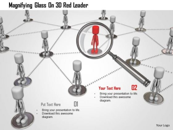 Magnifying Glass On 3d Red Leader PowerPoint Templates