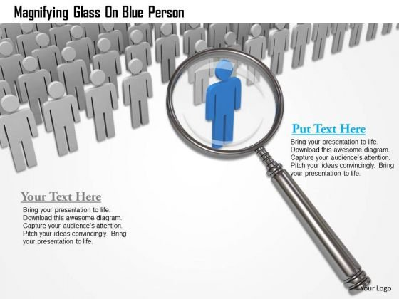 Magnifying Glass On Blue Person PowerPoint Templates