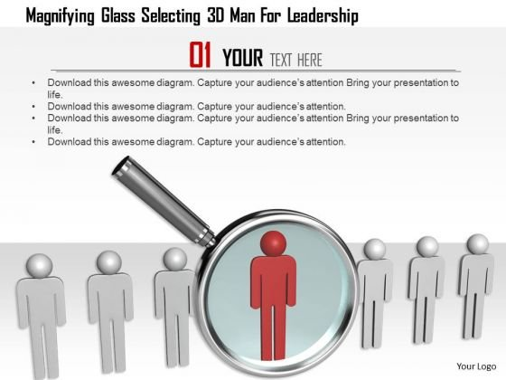 Magnifying Glass Selecting 3d Man For Leadership