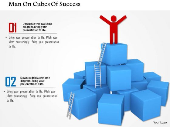 Man On Cubes Of Success PowerPoint Templates