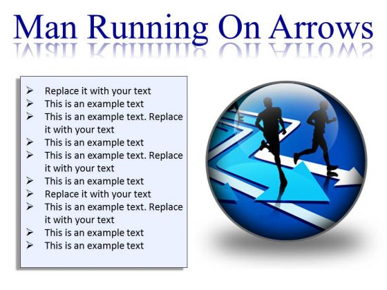 Man Running On Arrows Business PowerPoint Presentation Slides C