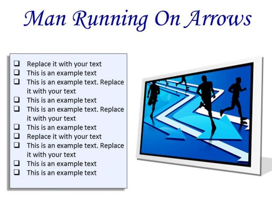 Man Running On Arrows Business PowerPoint Presentation Slides F