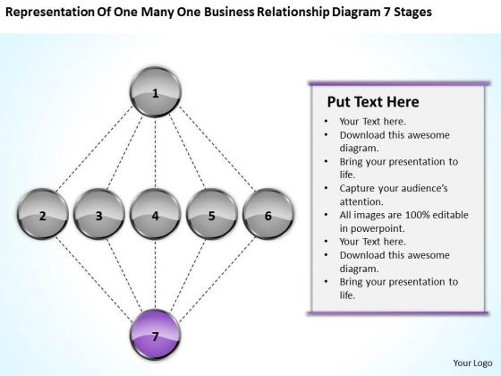 Many Business Relationship Diagram 7 Stages Ppt Graphic Design Plan PowerPoint Slides