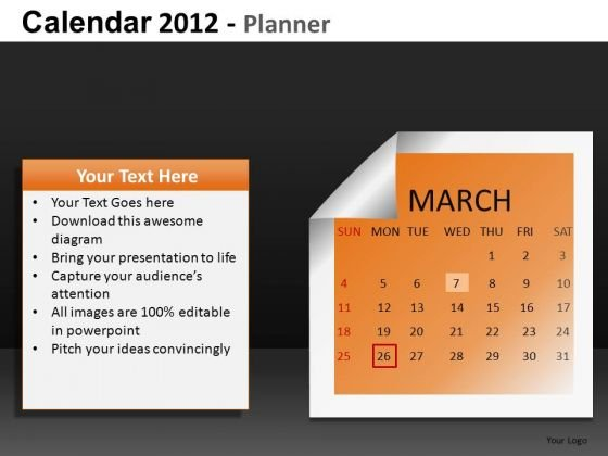 March 2012 Calendar PowerPoint Slides