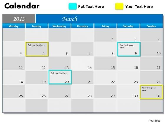 March 2013 Calendar PowerPoint Slides Ppt Templates
