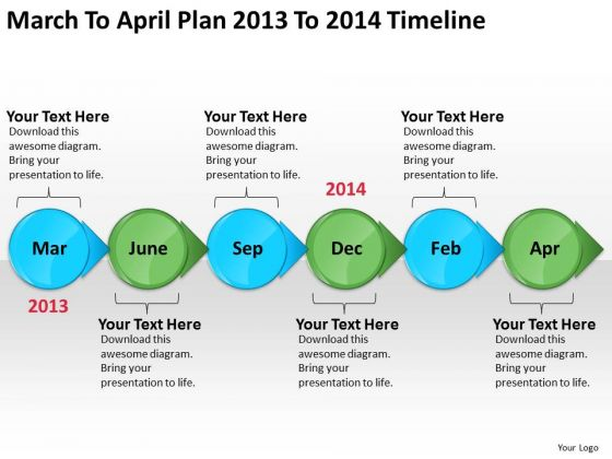March To April Plan 2013 To 2014 Timeline PowerPoint Templates Ppt Slides Graphics