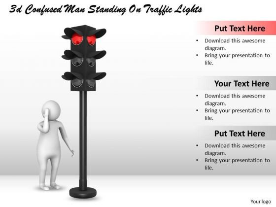 Marketing Concepts 3d Confused Man Standing Traffic Lights Characters