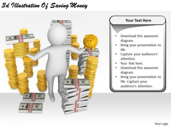 Marketing Concepts 3d Illustration Of Saving Money Business Statement