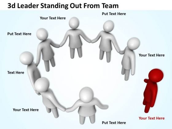 Marketing Concepts 3d Leader Standing Out From Team Characters