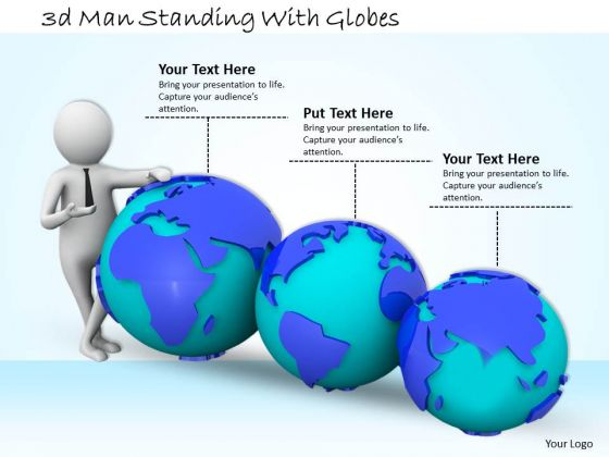 Marketing Concepts 3d Man Standing With Globes Basic Business