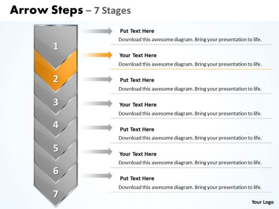 Marketing PowerPoint Template Arrow 7 Stages 1 Business Management Graphic