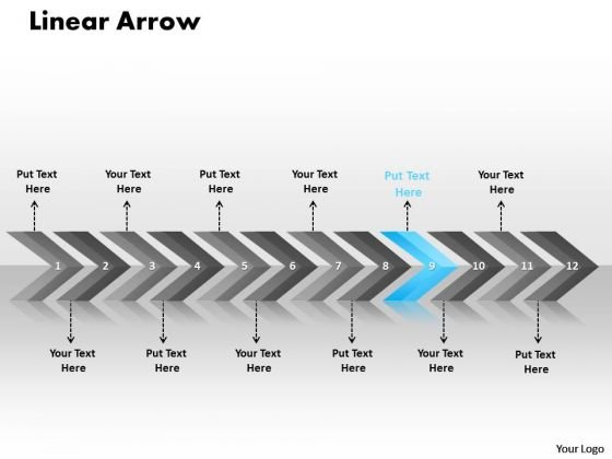 Marketing PowerPoint Template Linear Arrows 12 Stages Time Management Design